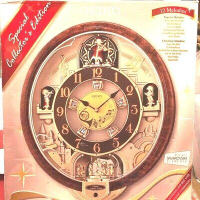"Seiko  COLLECTOR'S 12  Melodies in Motion wall clock Swarovski crystals 18""X15"""