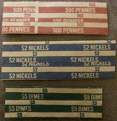 Flat Coin Wrappers, Pennies, Nickels, Dimes;   1000 Wrappers/Box. Total 3000