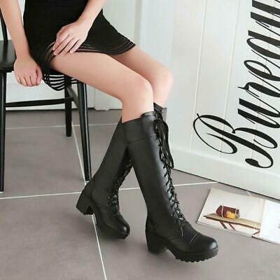 Womens Girls Lace Up Knee High Block Heel Boots Punk Gothic Motorcycle Shoes xl