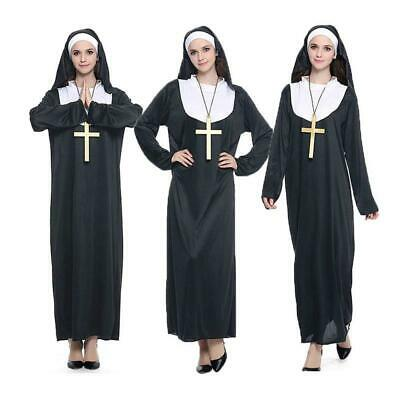 3pcs Women Nun Costume Cross Headscarf Robe For Party Cosplay Stage Performance