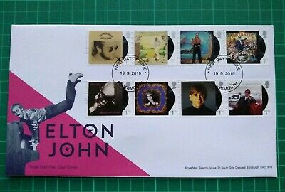 2019 Music Giants Elton John Album Covers Fdc Error Postmark Date Portsmouth Fdi