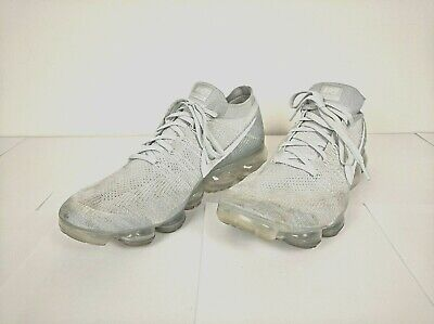 Men's Nike Air Vapormax Flyknit Running Athletic Shoes Gray White Size 14