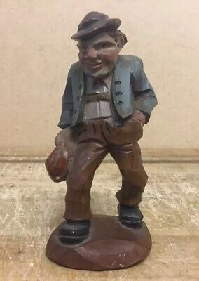 Antique Black Forest Hand Carved Miniature Figure Of A Gentleman Carrying Bag