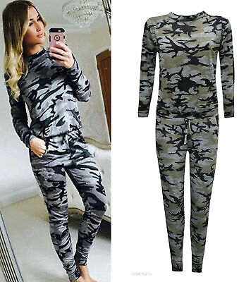 New Womens Ladies Celeb Inspired Camouflage Loungewear 2PC Tracksuit