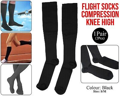 Flight Travel Socks Compression Anti Swelling Fatigue DVT Support Stocking Black