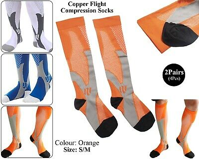 2 x Copper Infused Compression Socks Flight Travel Knee Varicose Stocking Orange