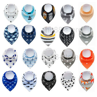 4pcs Cute Baby Bandana Dribble Feeding Bibs Multi Pack Girls Boys Cotton Gift UK