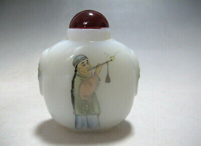 CH773 Chinese Glass Hand Painted Qing Cao people Snuff bottle Qianlong mark