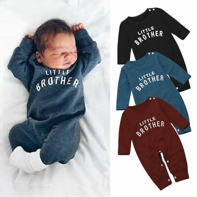 Newborn Baby Boys Clothes Little Brother Romper Bodysuit Jumpsuit Autumn Outfits