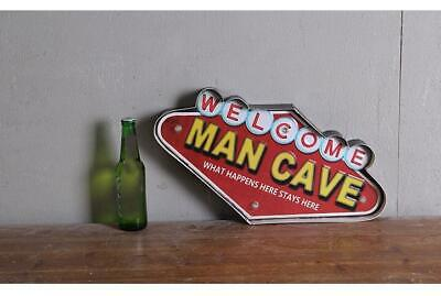 Retro Hang Sign Led Light Welcome Man Cave Happens Home Store Decor Wall Art Tin