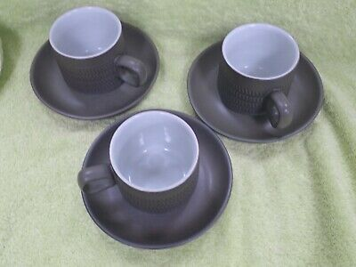 Denby Chevron 3 x tea / coffee cups and saucers 2.5 inches high 4 chevrons 1960s