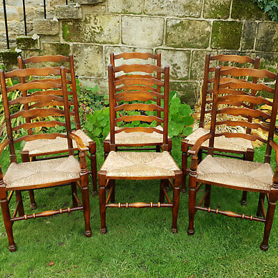 C18th Style Set of 6 Ash & Rush Traditional Country Ladderback Chairs & Carvers