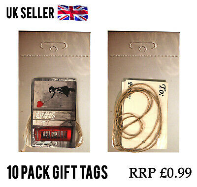 100 Packs BANKSY TELEPHONE GIFT TAGS CARD LABEL + STRING JOBLOT WHOLESALE RESELL