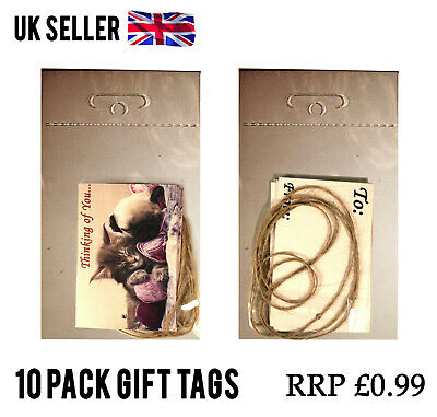 100 Packs CUTE CAT AND DOG GIFT TAGS CARD LABEL + STRING JOBLOT WHOLESALE RESELL
