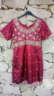 Vintage Traditional Indian Red Beaded Sequin Kameez Tunic Dress Ethnic Boho S/M