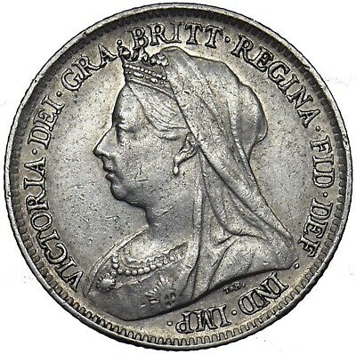 1901 Sixpence - Victoria British Silver Coin - Nice