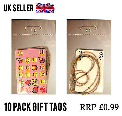100 Packs PINK EMOJI GIFT TAGS PAPER CARD LABEL + STRING JOBLOT WHOLESALE RESELL