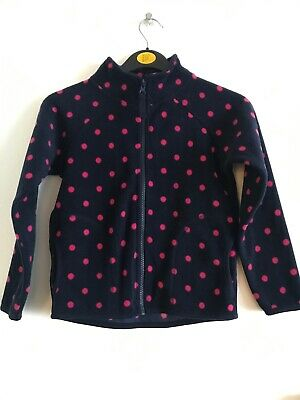 Girls' Primark Fleece Jacket Age 7-8 Years Navy Blue and Pink Spots