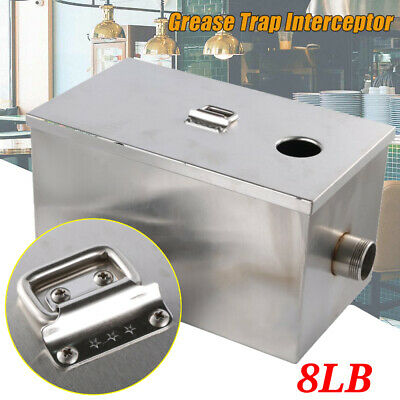 8LB 5GPM Per Minute Grease Trap Stainless Steel Interceptor Filter Commercial MA