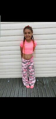 Girls Pink Camo Trousers Jean's Age 7-8