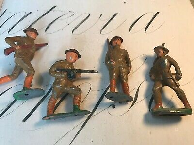 Antique Lead Three WWI Soldiers With Guns Toy Figurines 3 Inches