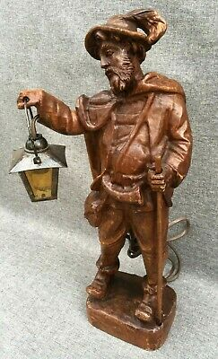 Big antique black forest sculpture lamp mid-1900's Germany lantern woodwork