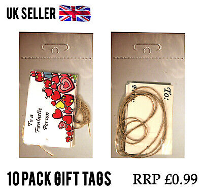 100 Packs HEARTS LOVELY GIFT TAGS CARD LABEL + STRING JOBLOT WHOLESALE RESELL
