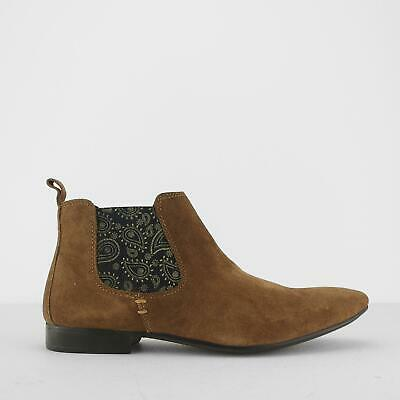 Silver Street London CARNABY Mens Suede Leather Plain Pointed Chelsea Boots Tan