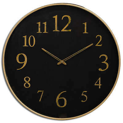 Black & Antique Gold Glass Face Statement Round Wall Clock (H20178)