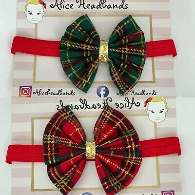 Tartan Fabric 3 Inch Bow Baby Headband Glitter Baby Girls Christmas + Lot