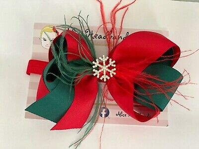 Big Bow Christmas Red and Green With Fur Snow Flake Diamante Baby Headband Girls