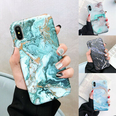 For iPhone XR XS Max 8 7 6 Plus Marble Phone Case Shockproof Soft Silicone Cover