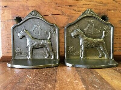 Deco Cast Bookends with Wire Haired Fox Terrier Design - Dated 1929 - 1.6kg