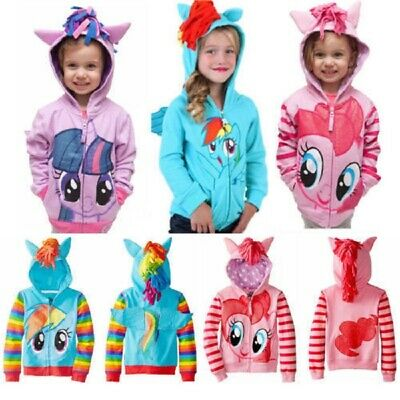 Kids Girls Hoodies My Little Pony Wing Sweater Hooded Coat Zip Casual Jacket Top
