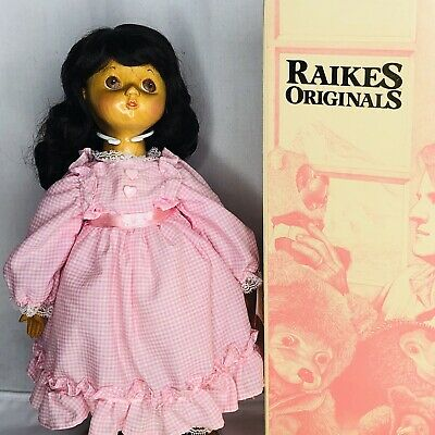 Vintage Robert Raikes Doll Molly Original Wooden Doll New in Box Tag Carved 17""