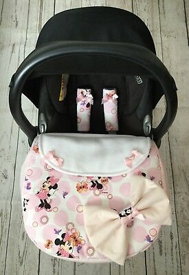 Candy pink cream stripe baby car seat apron harness covers padded bow universal