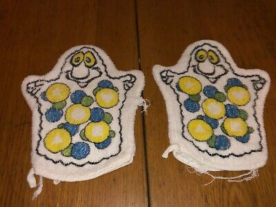 Vintage Lot Of 2 Child Bath Mitt Mitten Puppet Wash Cloth