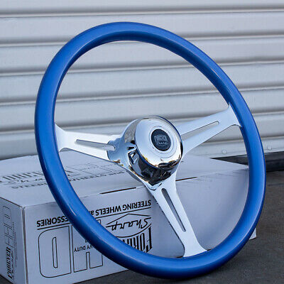 """18"""" Chrome Steering Wheel with Blue Grip and Horn for Semi-Trucks - 5 Hole"""