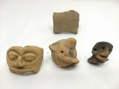 Pre Columbian Artifact Lot - Head Pottery Fragment - 4 Specimens