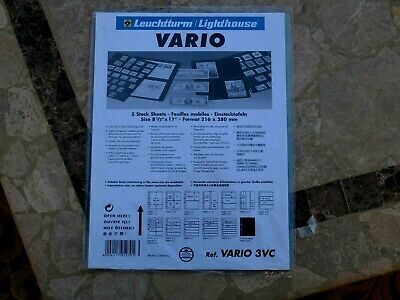 Pack Of 5 Vario Stock Sheets (3Vc) Three Clear Vertical Pockets Per Page