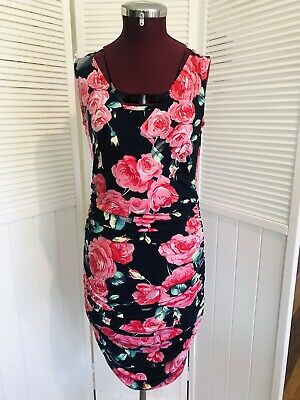 PEACHYMAMA Nursing Dress Size S Navy & Floral Stretch. Breastfeeding. Aust Made