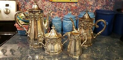 Gorham Hispana Silverplate 4 Peice Tea Set Tea Pot Coffee Pot Sugar Bowl Creamer
