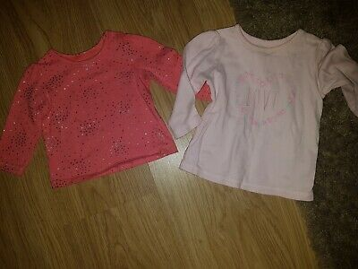 2x MOTHERCARE Baby Girls Long Sleeved Tops Tiny /& New Baby Pink Multi Cotton