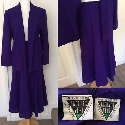 JACQUES VERT 80s Vintage Wool Blend Crepe Skirt Suit Purple Oversized UK 12 (10)