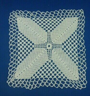 VINTAGE HAND CROCHETED WHITE SQUARE SMALL DOILEY 18.5 cms across