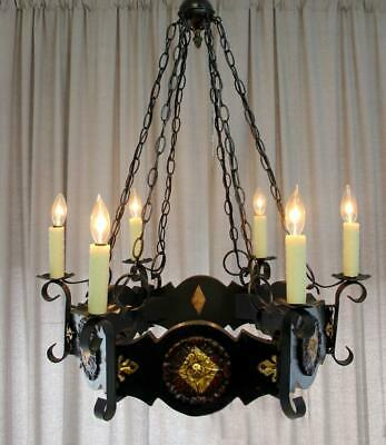 "Vintage 6 Light 26"" x33"" Gothic Carved Wood, Chain Link, Wrought Iron Chandelier"