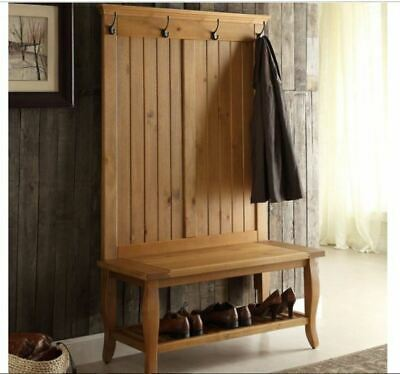 Fine Rustic Wood Hall Tree Coat Rack Storage Stand Bench Machost Co Dining Chair Design Ideas Machostcouk