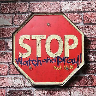Retro Hang Sign LED Light Stop Watch Pray Store Home Shop Decor Wall Art Vintage