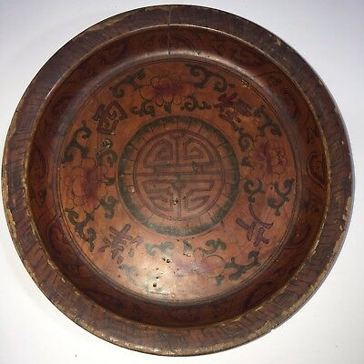 Antique chinese Wood Lacquer Cigarette Plate Signed