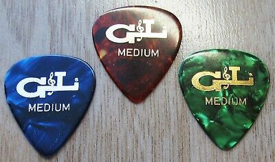 Fender / G & L Guitar Picks (3 Total) in Tortoise, Green and Blue Celluloid